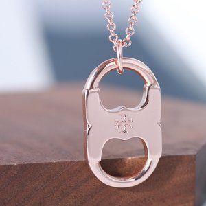Tory Burch Gemini Long Necklace,Rose Gold